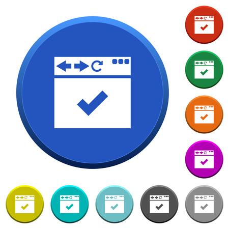Browser ok pulsanti arrotondati di colore smussato con superfici lisce e icone bianche piatte