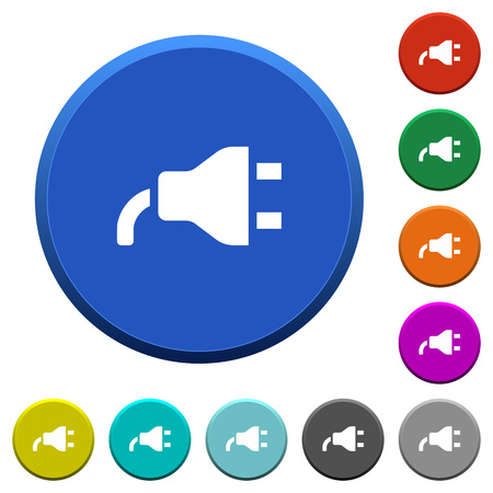 Power plug round color beveled buttons with smooth surfaces and flat white icons