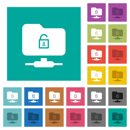 FTP unlock multi colored flat icons on plain square backgrounds. Included white and darker icon variations for hover or active effects. Illustration