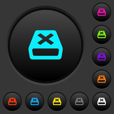 Uninstall dark push buttons with vivid color icons on dark grey background