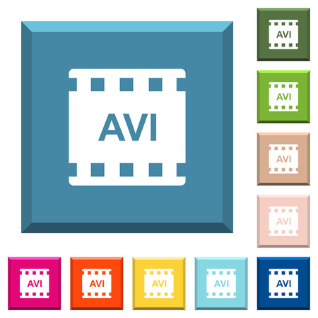 AVI movie format white icons on edged square buttons in various trendy colors