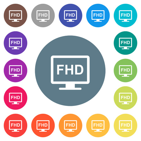Full HD display flat white icons on round color backgrounds. 17 background color variations are included.