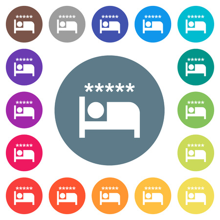Luxury hotel flat white icons on round color backgrounds. 17 background color variations are included.