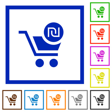 Checkout with new Shekel cart flat color icons in square frames on white background Illustration