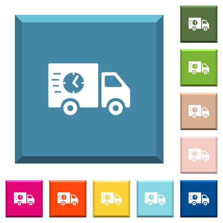 Fast delivery truck white icons on edged square buttons in various trendy colors Illustration