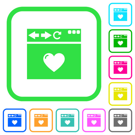Browser favorite vivid colored flat icons in curved borders on white background