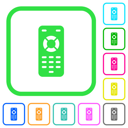 Remote control vivid colored flat icons in curved borders on white background Illustration