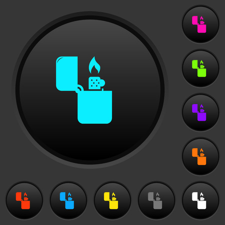Lighter dark push buttons with vivid color icons on dark grey background