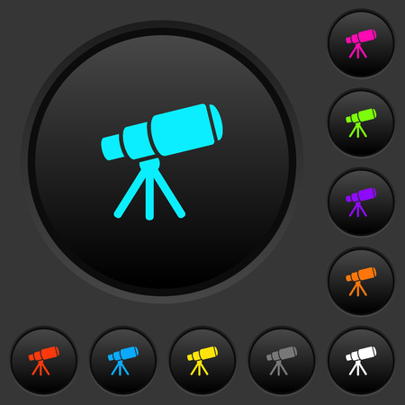 Space telescope dark push buttons with vivid color icons on dark grey background 向量圖像