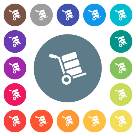 Hand truck with boxes flat white icons on round color backgrounds. 17 background color variations are included.