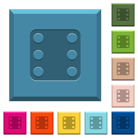 Domino six engraved icons on edged square buttons in various trendy colors Vectores