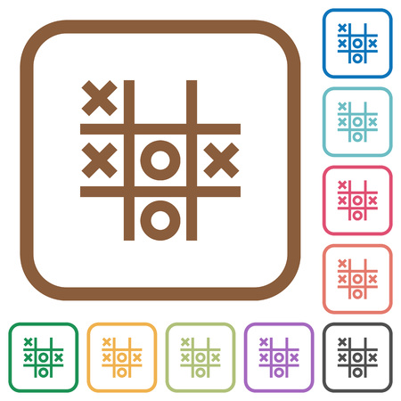 Tic tac toe game simple icons in color rounded square frames on white background
