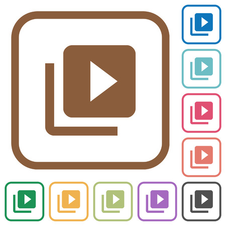 Video library simple icons in color rounded square frames on white background