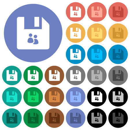File group multi colored flat icons on round backgrounds. Included white, light and dark icon variations for hover and active status effects, and bonus shades on black backgounds.