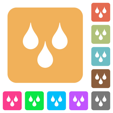 Water drops flat icons on rounded square vivid color backgrounds.