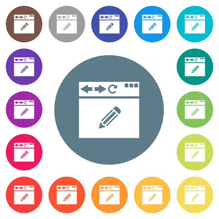 Browser edit flat white icons on round color backgrounds. 17 background color variations are included.