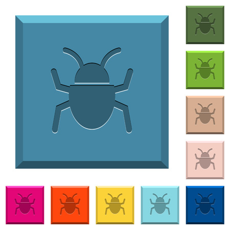 Bug engraved icons on edged square buttons in various trendy colors