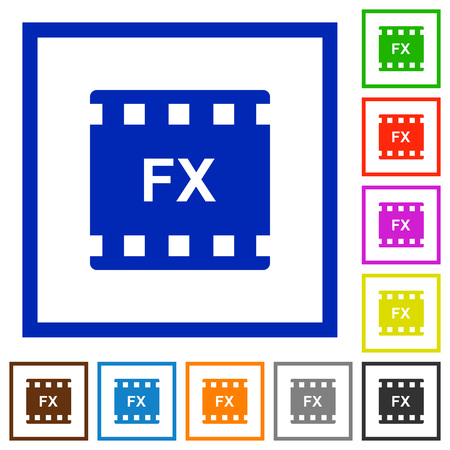 Movie effects flat color icons in square frames on white background