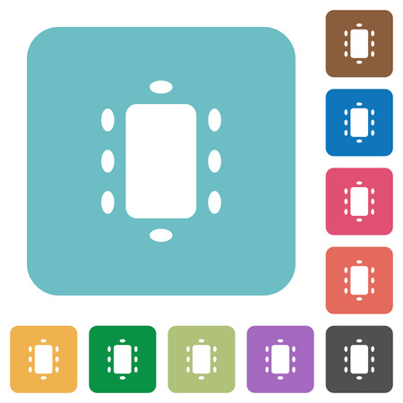 Meeting white flat icons on color rounded square backgrounds