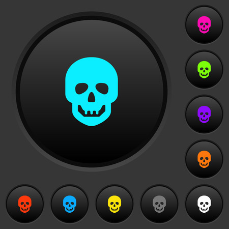 Human skull dark push buttons with vivid color icons on dark grey background