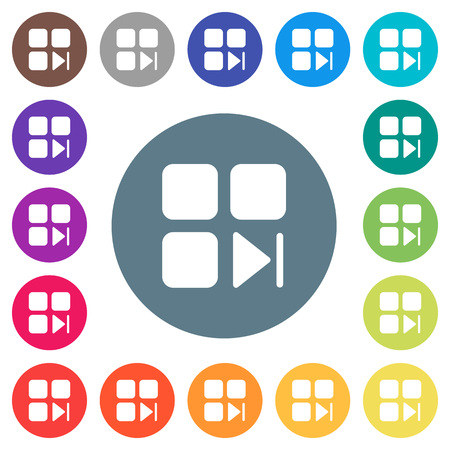 Component next flat white icons on round color backgrounds. 17 background color variations are included.