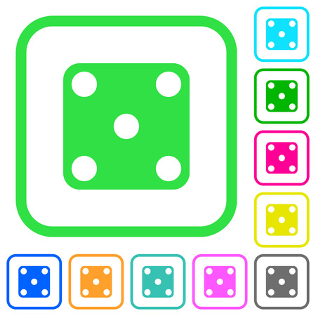 Domino five vivid colored flat icons in curved borders on white background