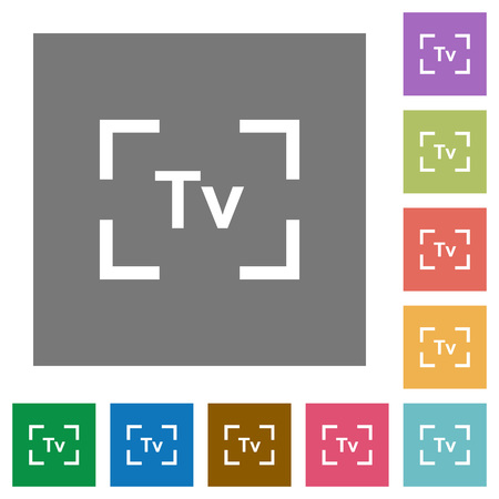 Camera time value mode flat icons on simple color square backgrounds