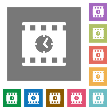 Movie playing time flat icons on simple color square backgrounds