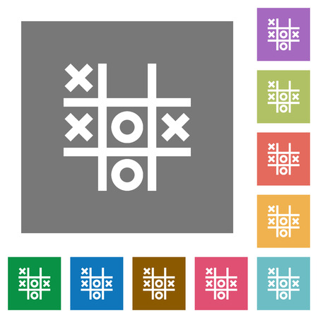 Tic tac toe game flat icons on simple color square backgrounds Çizim