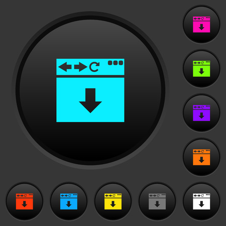 Browser scroll down dark push buttons with vivid color icons on dark grey background