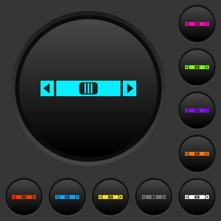 Horizontal scroll bar dark push buttons with vivid color icons on dark grey background Ilustração