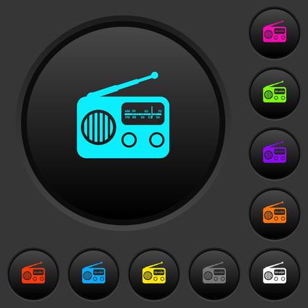 Vintage retro radio dark push buttons with vivid color icons on dark grey background Ilustração