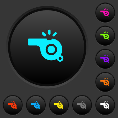 Whistle dark push buttons with vivid color icons on dark grey background