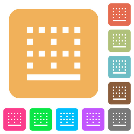 Bottom border flat icons on rounded square vivid color backgrounds. Ilustracja