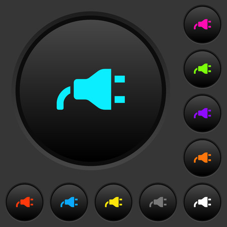 Power plug dark push buttons with vivid color icons on dark grey background Иллюстрация