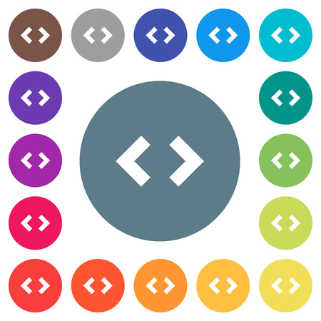 Script code flat white icons on round color backgrounds. 17 background color variations are included. Foto de archivo - 112258734