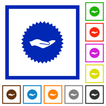 Hand in sticker flat color icons in square frames on white background