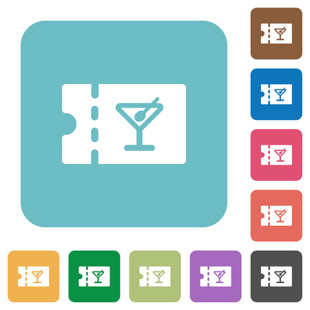 cocktail bar discount coupon white flat icons on color rounded square backgrounds