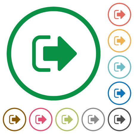 Sign out flat color icons in round outlines on white background Vectores