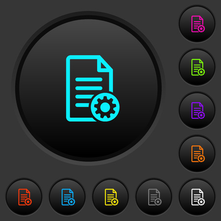 Document settings dark push buttons with vivid color icons on dark grey background