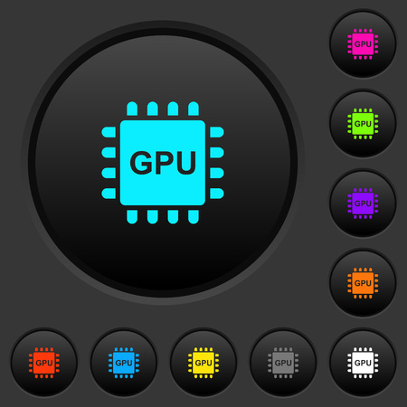 Graphics processing unit dark push buttons with vivid color icons on dark grey background