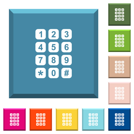 Numeric keypad white icons on edged square buttons in various trendy colors Vectores