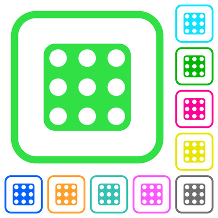 Domino nine vivid colored flat icons in curved borders on white background