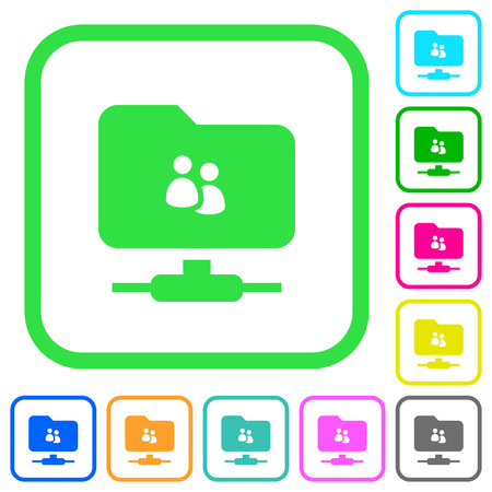 FTP group vivid colored flat icons in curved borders on white background Illustration
