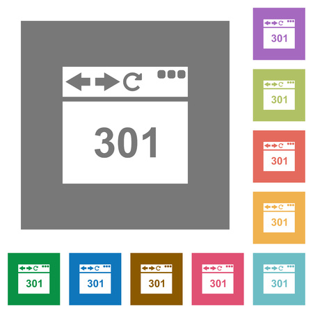 Browser 301 Moved Permanently flat icons on simple color square backgrounds Illustration