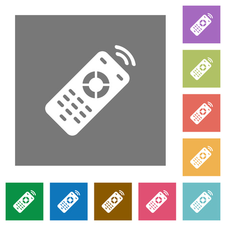 Working remote control flat icons on simple color square backgrounds