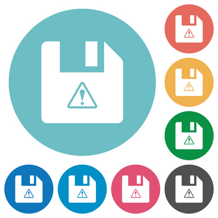 File warning flat white icons on round color backgrounds Stock Illustratie