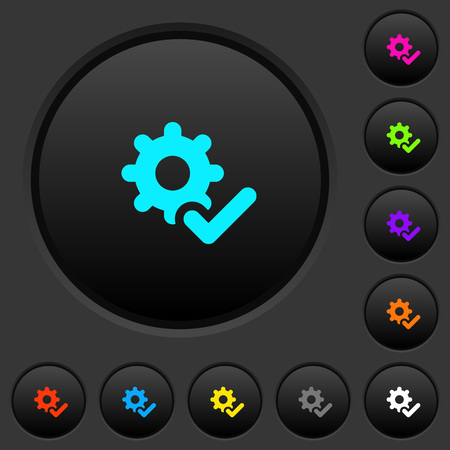 Settings ok dark push buttons with vivid color icons on dark grey background Ilustração