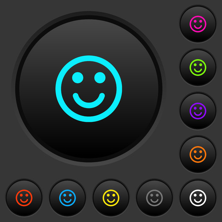Smiling emoticon dark push buttons with vivid color icons on dark grey background 일러스트