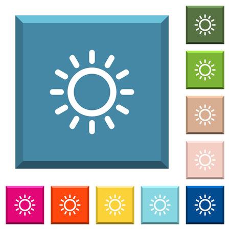 Iconos blancos de control de brillo en botones cuadrados con bordes en varios colores de moda